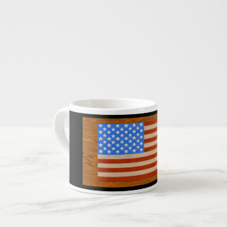 US Flag on wood Background Espresso Cup