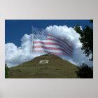 US Flag Over Tenderfoot Hill Poster
