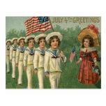 US Flag Parade Navy Uniform 4th of July Postcard