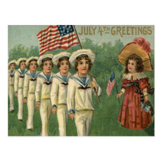 US Flag Parade Navy Uniform 4th of July Postcard