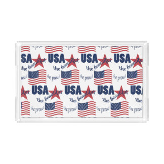 US Flag Pattern Acrylic Tray
