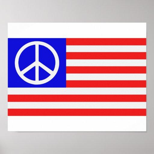 US flag peace Print