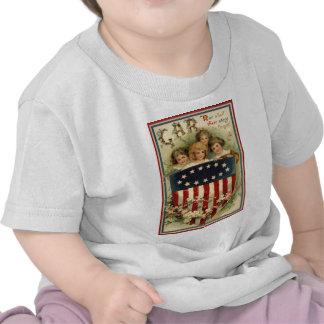 US Flag Shield Children Flower Tees