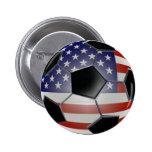 US Flag Soccer Ball 6 Cm Round Badge