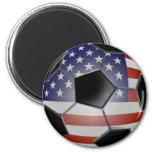 US Flag Soccer Ball 6 Cm Round Magnet
