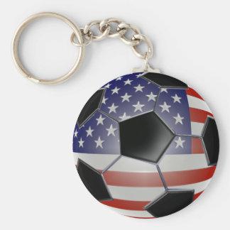US Flag Soccer Ball Basic Round Button Key Ring