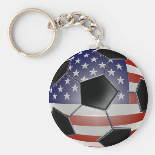 US Flag Soccer Ball Key Chains