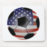 US Flag Soccer Ball Mouse Pads