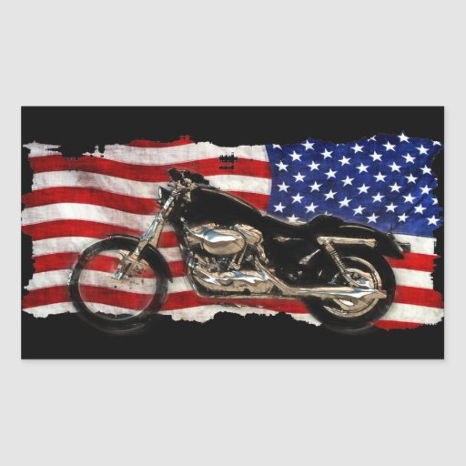US Flag, Stars and Stripes, Motorcycle, Motorbike Rectangular Sticker