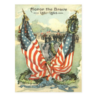US Flag Tombstone Civil War Parade Postcard