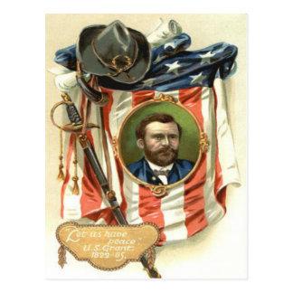 US Flag Ulysses S Grant Sword Cavalry Postcard