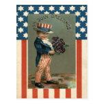 US Flag Uncle Sam Boy Violets Postcards