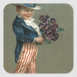 US Flag Uncle Sam Boy Violets Stickers