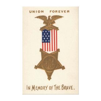 US Flag Union Civil War Medal Eagle Stretched Canvas Print