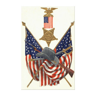 US Flag Union Civil War Medal Eagle Stretched Canvas Prints