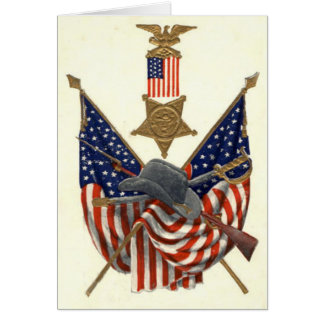 US Flag Union Civil War Medal Eagle Greeting Card