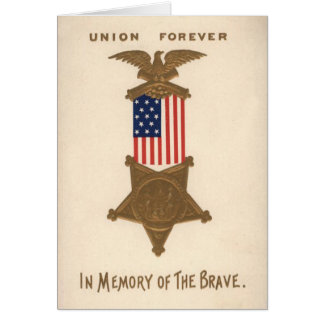 US Flag Union Civil War Medal Eagle Card