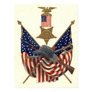 US Flag Union Civil War Medal Eagle Postcard