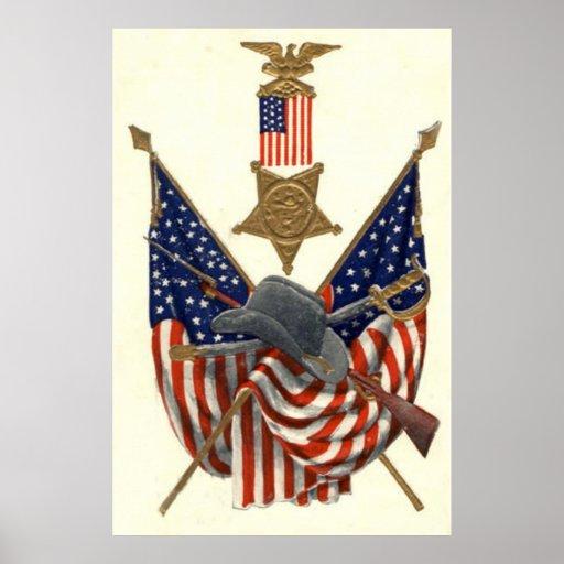 US Flag Union Civil War Medal Eagle Poster