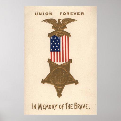 US Flag Union Civil War Medal Eagle Print