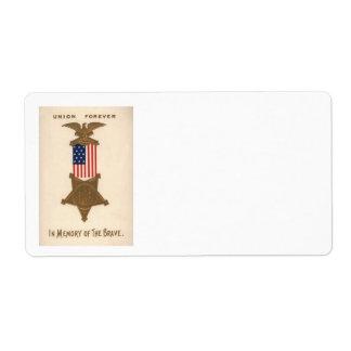 US Flag Union Civil War Medal Eagle Shipping Label