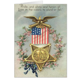 US Flag Union Civil War Medal Eagle Wreath Card