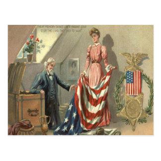 US Flag Union Civil War Medal Eagle Wreath Postcard
