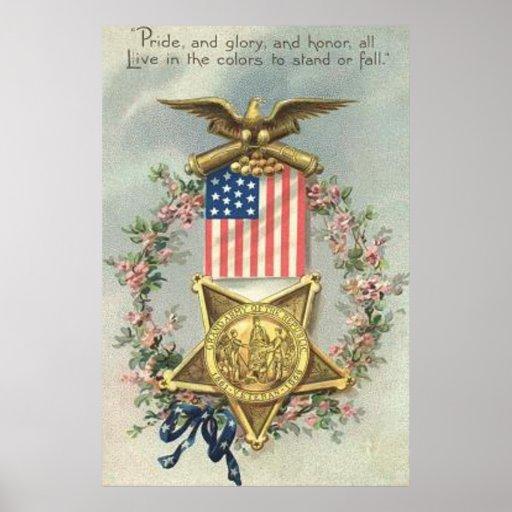 US Flag Union Civil War Medal Eagle Wreath Print