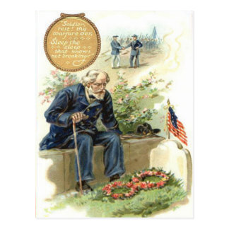 US Flag Union Soldier Cemetery Tombstone Postcard