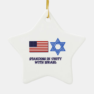 US Flag Unity with Israel Christmas Ornament