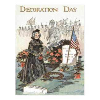 US Flag War Widow Tombstone Wreath Postcard
