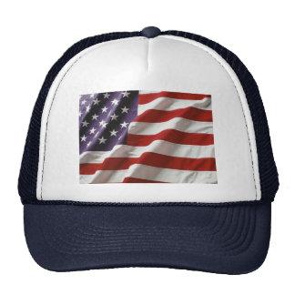US Flag Waving Trucker Hat