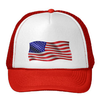 US Flag Wavy - Trucker Hat