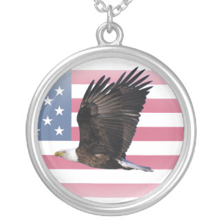 US Flag with Eagle Round Sterling Silver Necklace