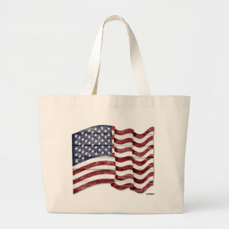 US Flag with wood grain Large Tote Bag