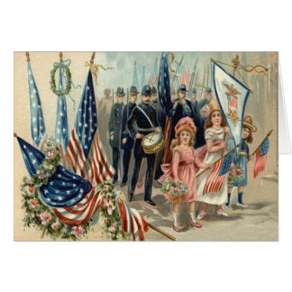 US Flag Wreath Children March Parade Army Greeting Card