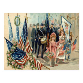US Flag Wreath Children March Parade Army Postcard