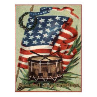US Flag Wreath Drum Memorial Day Postcard
