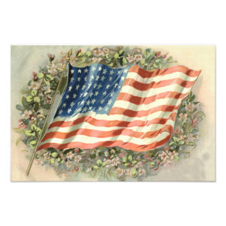 US Flag Wreath Flowers Memorial Day Photo Print