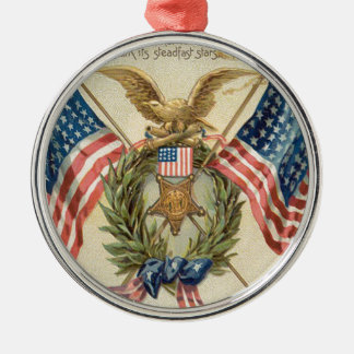 US Flag Wreath Medal Eagle Christmas Ornament