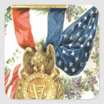 US Flag Wreath Medal Flowers Square Stickers