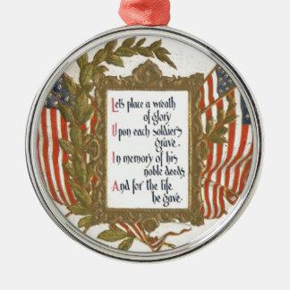 US Flag Wreath Memorial Day Christmas Ornament
