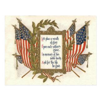 US Flag Wreath Memorial Day Postcard