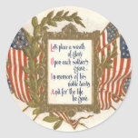 US Flag Wreath Memorial Day Round Stickers