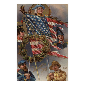 US Flag Wreath Military Memorial Day Poster