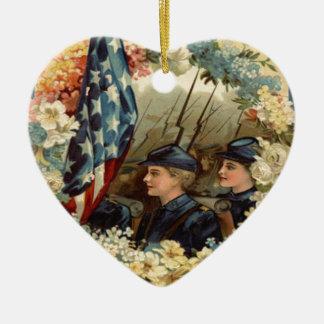 US Flag Wreath Parade March Civil War Ceramic Heart Decoration
