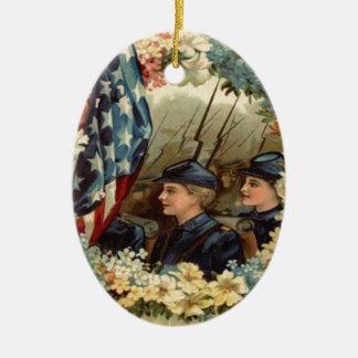US Flag Wreath Parade March Civil War Ceramic Oval Decoration