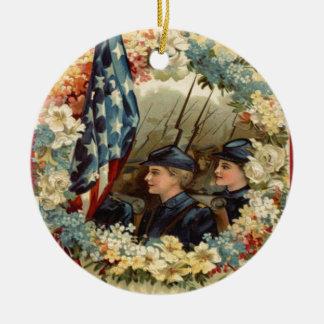 US Flag Wreath Parade March Civil War Round Ceramic Decoration
