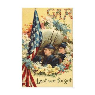 US Flag Wreath Parade March Civil War Stretched Canvas Prints