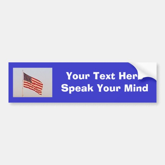 US Flag + Your Text Bumper Sticker